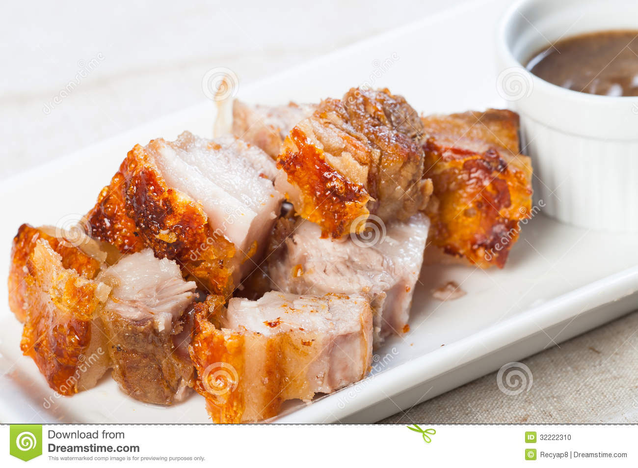 Deep Fried Pork Belly With Liver Sauce Stock Photo.