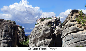 Stock Photographs of The Great Meteoro Monastery in Meteora rocks.