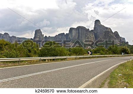 Stock Photography of Road near Kalambaka area at Thessalia area in.