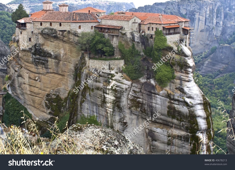 Orthodox, Monastery At Meteora Near Kalambaka In Greece Stock.