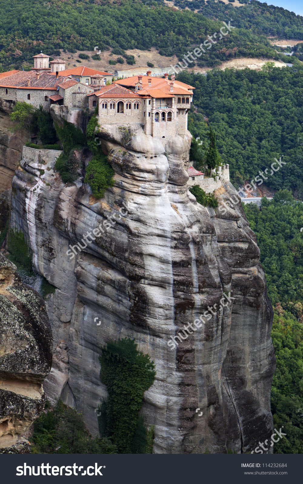 Orthodox Monastery Meteora Near Kalambaka Greece Stock Photo.