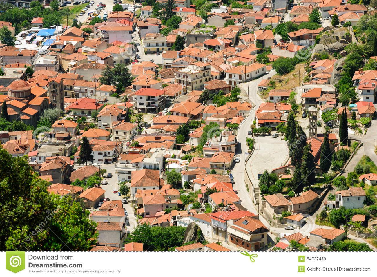 Kalambaka Town View From Meteora Rocks, Greece Stock Photo.