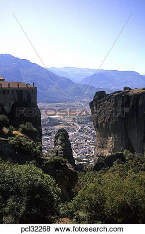 Pictures of Greece Thessaly Meteora View Towards Kalambaka.
