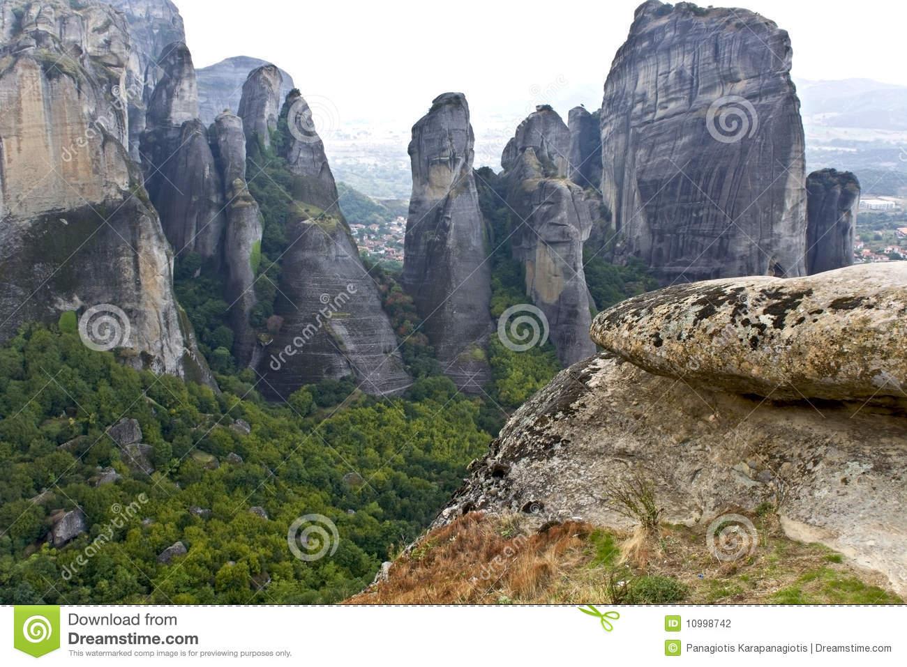 Meteora Peaks At Kalambaka, Greece Royalty Free Stock Photos.