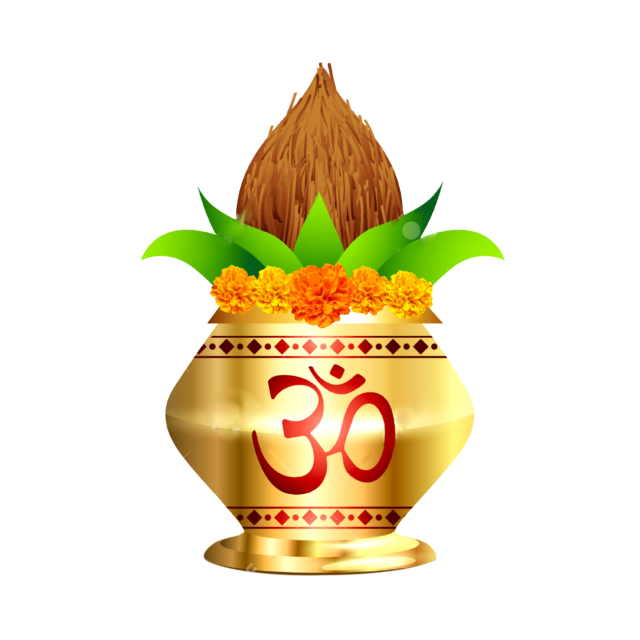Flower with Kalash High Resolution Clipart #47056.