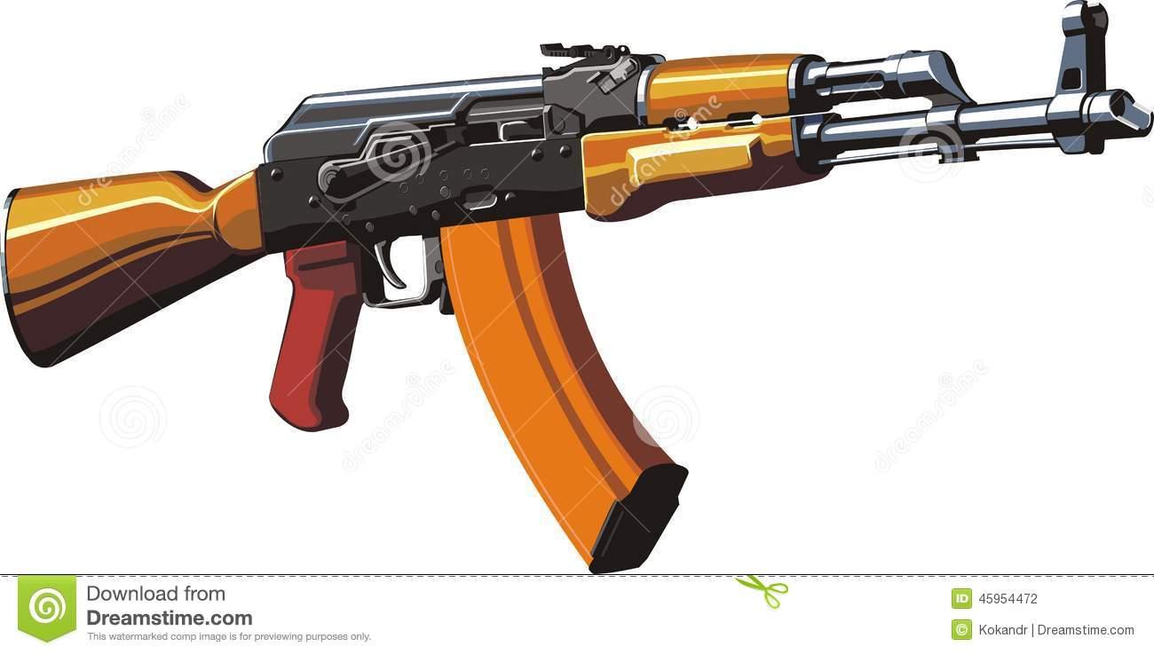 Kalashnikov Assault Rifle Stock Vector.