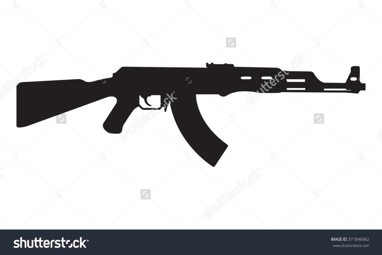 Ak47 Icon Kalashnikov Machine Gun Black Stock Vector 371846962.