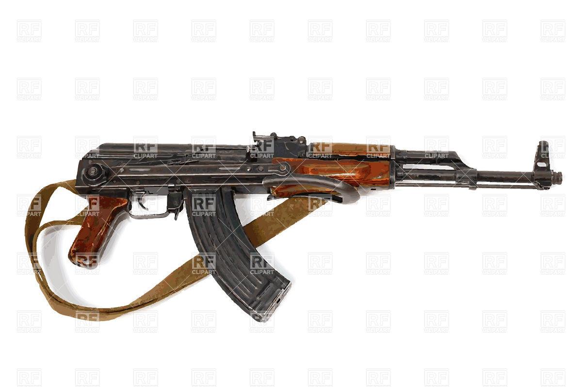Kalashnikov with strap Vector Image #19077.