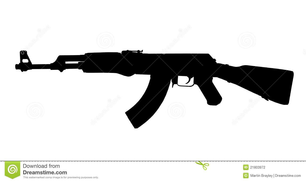 AK47 Kalashnikov Silhouette Stock Photography.