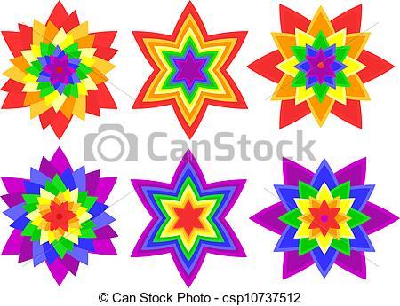 Vector Clip Art of Rainbow kaleidoscope flowers.