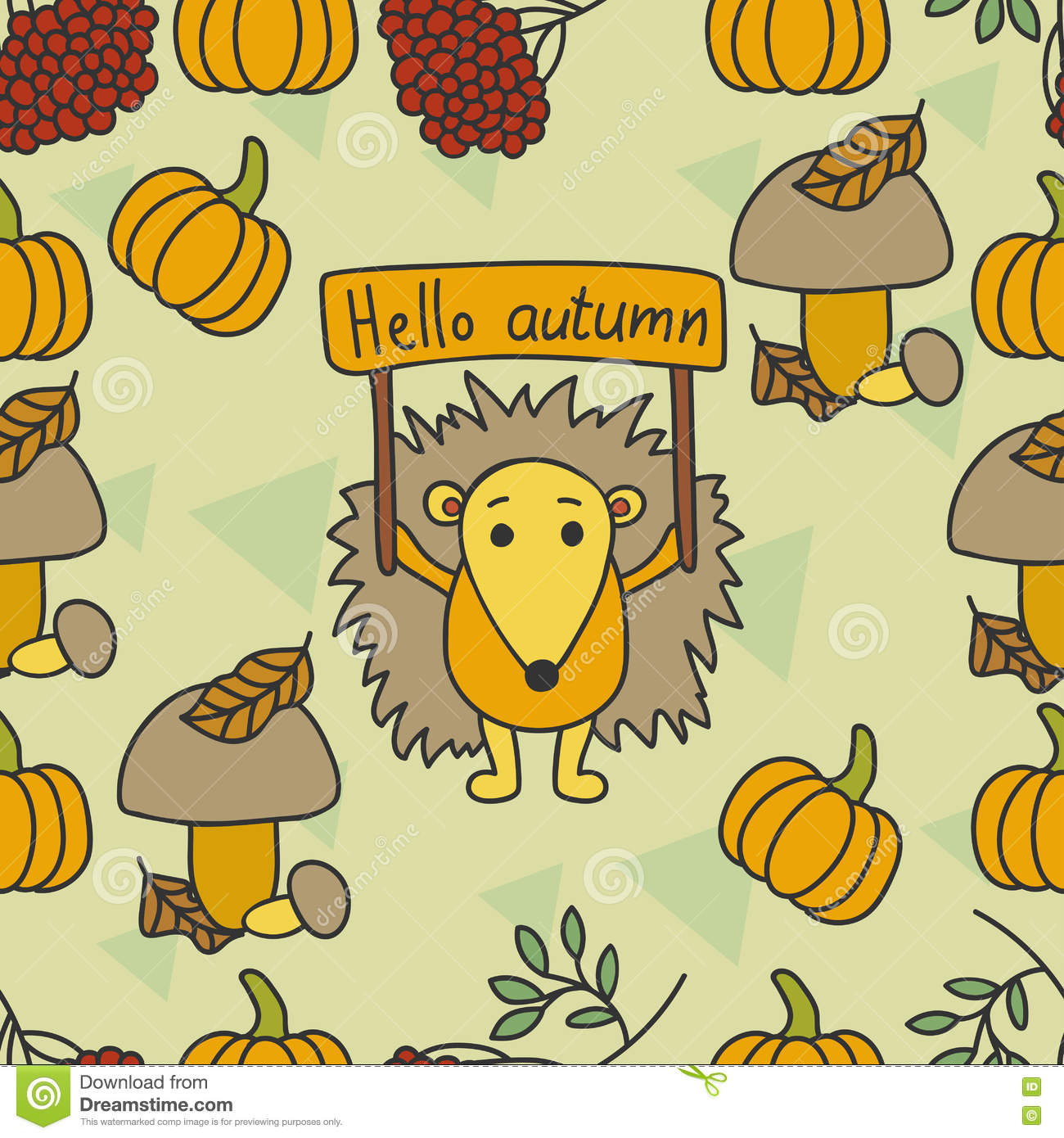 Autumn Pattern With Hedgehog, Leaves, Pumpkin, Kalina, Mushrooms.