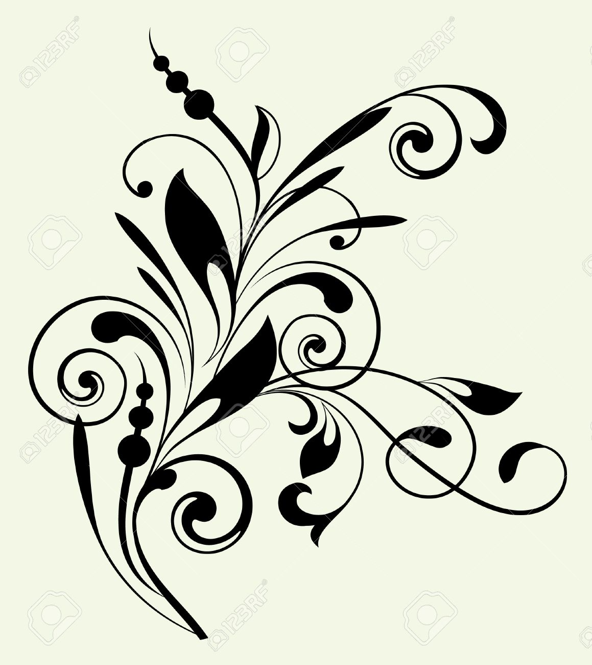 Floral Pattern With Decorative Branch Royalty Free Cliparts.