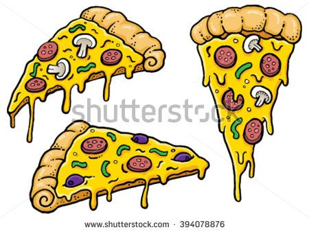 Cartoon Pizza slices with dripping cheese. Vector Illustration.