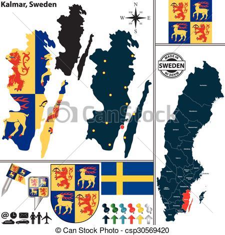 Vector Illustration of Map of Kalmar, Sweden.