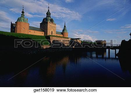 Stock Photograph of River along a castle, Kalmar Castle, Smaland.