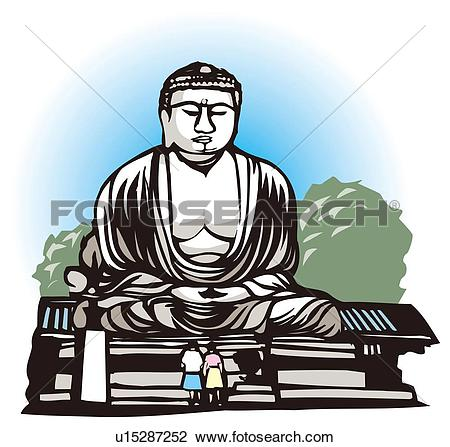 Clip Art of Big Buddha at Kamakura, Woodcut, Kanagawa Prefecture.