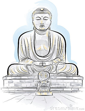 Drawing Color Giant Buddha Monument In Kamakura Stock Photography.