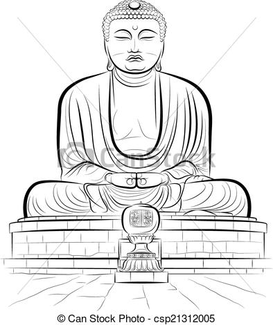 Vector Clipart of Drawing giant Buddha monument in Kamakura, Japan.