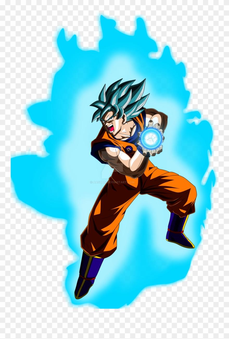 Goku Super Saiyan Blue Kamehameha Pose By Aashananimeart.