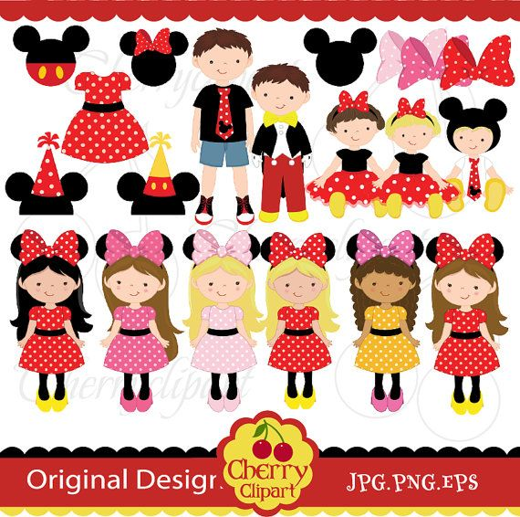 Mickey and Minnie costumes party digital clip art set for.
