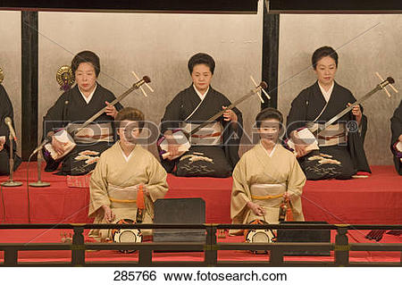 Stock Images of Stage performers performing, Kamogawa Theater.