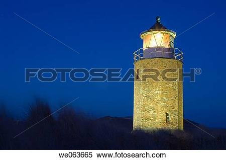 Stock Image of Cross light lighthouse, Kampen island, Sylt.
