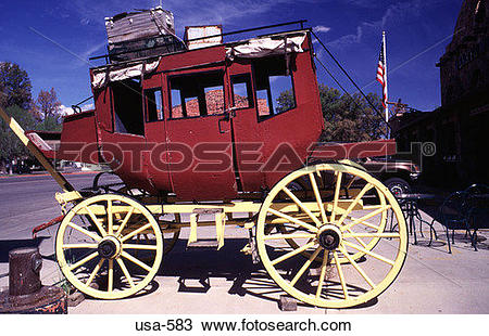 Stock Photo of Side of Stagecoach on Road in Kanab Utah usa.