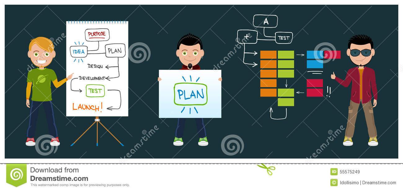Kanban stock vector. Illustration of motivation, businessman.