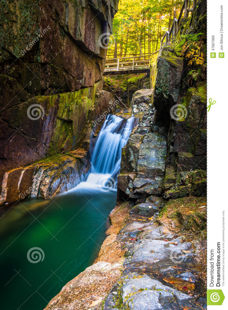 Sabbaday Falls, Along The Kancamagus Highway In White Mountain N.