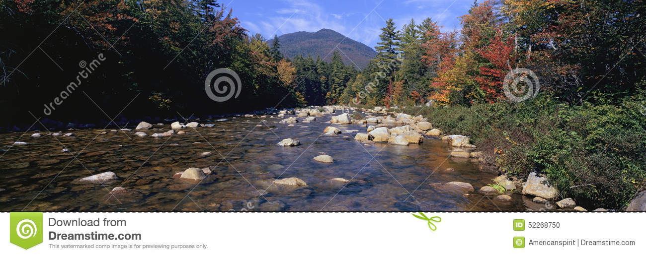 Panoramic View Of An Autumn Waterway Along The Kancamagus Highway.