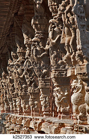 Stock Photo of Ancient stone carvings in Varadaraja Temple.