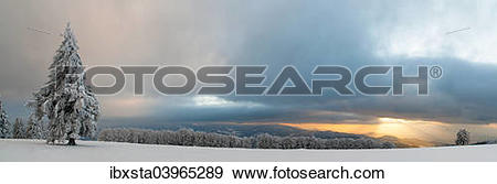 """Stock Photograph of """"Sunset after a snowfall on the Kandel, Black."""