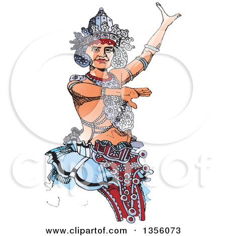 Clipart of a Kandyan Dancer Against the Sun.