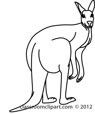 Kangaroo black and white clipart kid.