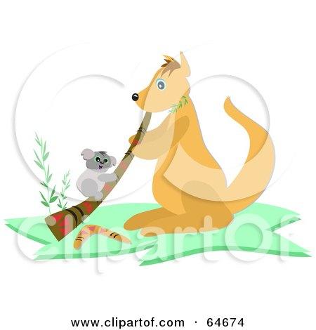 Cartoon of a Kangaroo and Border.