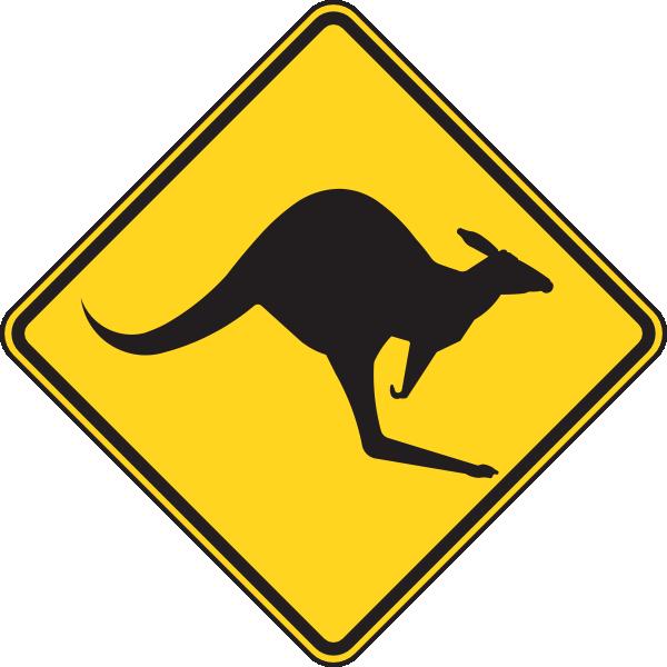 Kangaroo Warning Sign clip art Free Vector / 4Vector.