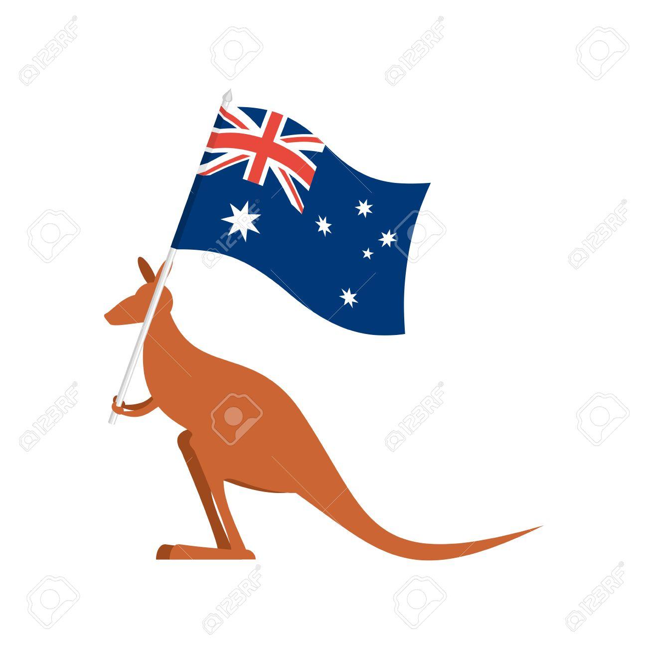 Kangaroos and Australian flag. wallaby for Australia Day emblem.