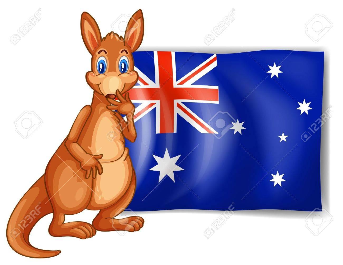 Illustration of a kangaroo beside an Australian flag on white...