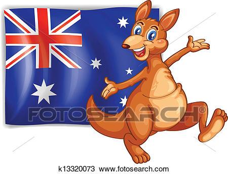 A kangaroo presenting the flag of Australia Clipart.