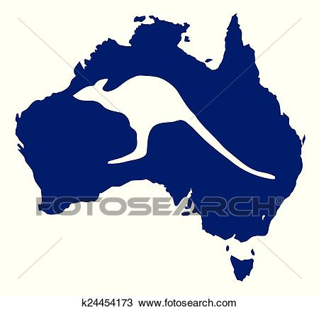 Australia Map With Kangaroo Silhouette Clipart.