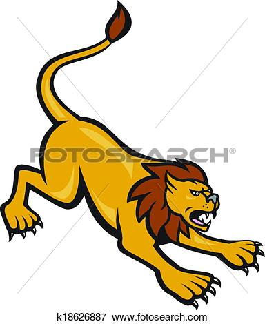 Clipart of Puma Mountain Lion Crouching Cartoon k18626882.