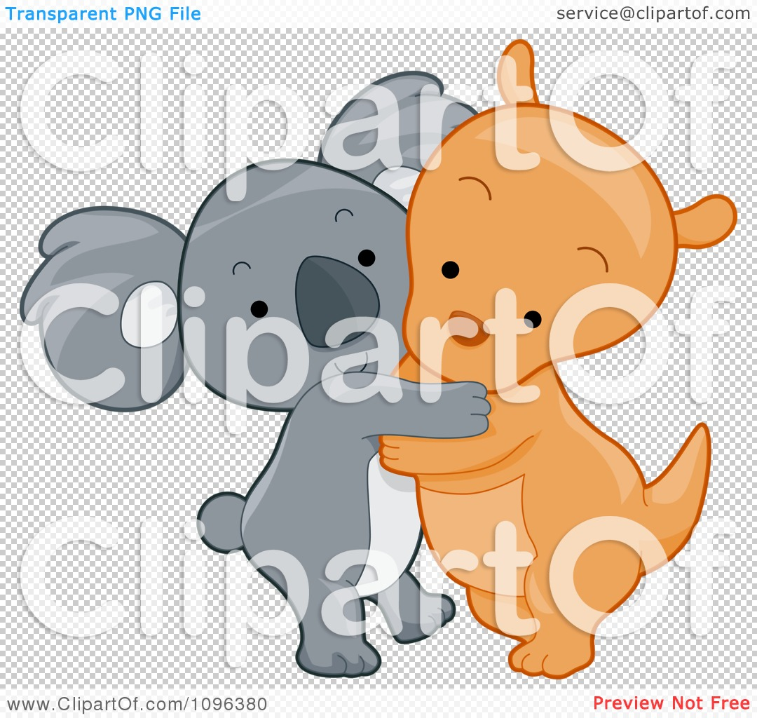 Clipart Cute Koala And Kangaroo Hugging.