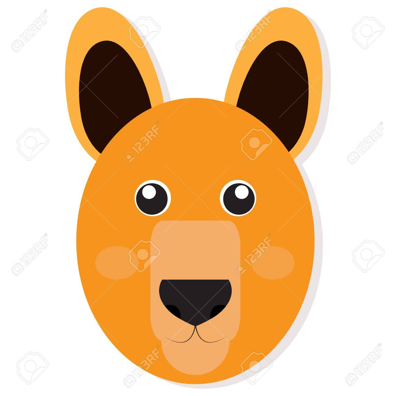 Isolated cute kangaroo face on a white background, Vector illustration.