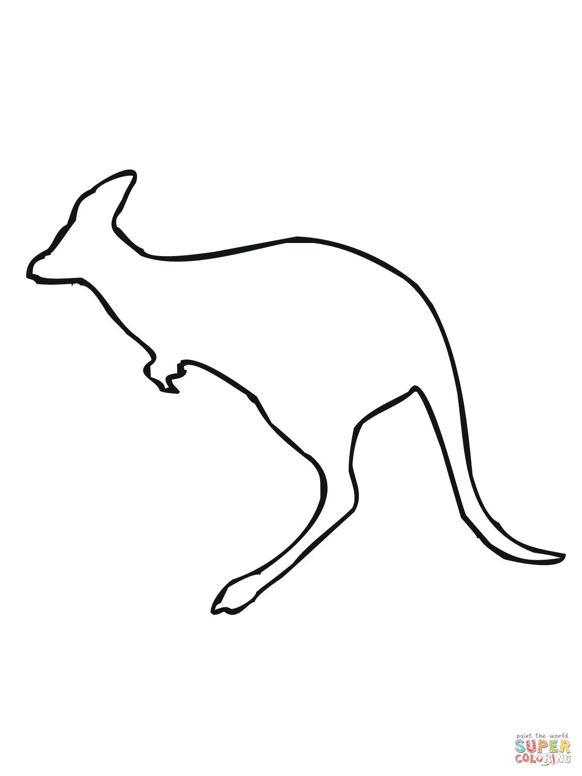 Leaping Kangaroo Outline coloring page.