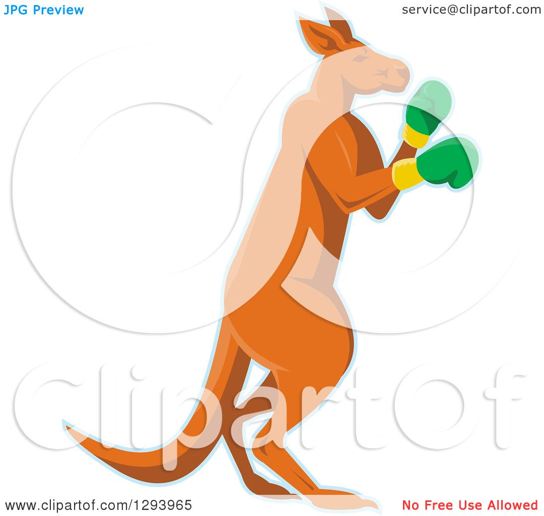 Clipart of a Retro Kangaroo in Boxing Gloves, with a Blue Outline.
