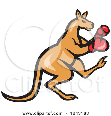Clipart of a Cartoon Kangaroo in Boxing Gloves.