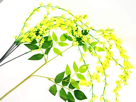 EXCEL IMPEX Insej Artificial Kanikonna Flowers Combo for Vishu Kani Bunch  with 5 Strands and Bunch with 3 Flower Strands and 6 Leaves.