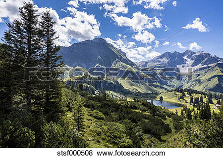Pictures of Austria, Vorarlberg, mountainscape and Koerbersee.