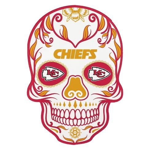 NFL Kansas City Chiefs Small Outdoor Skull Decal.
