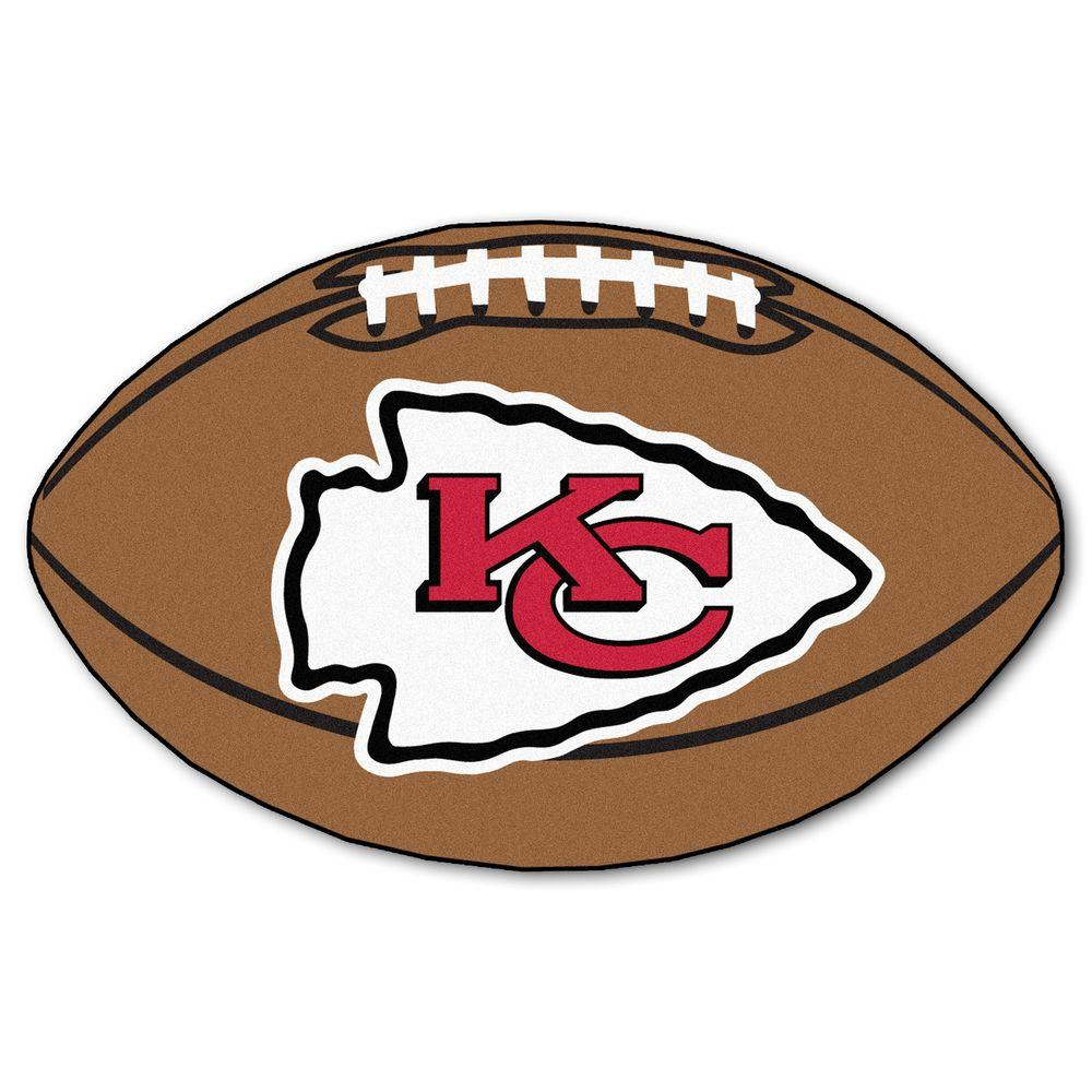 FANMATS NFL Kansas City Chiefs Brown 2 ft. x 3 ft. Specialty Area Rug.